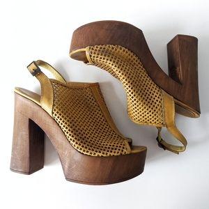 Yellow Leather Wooden Platform Clog Sandals